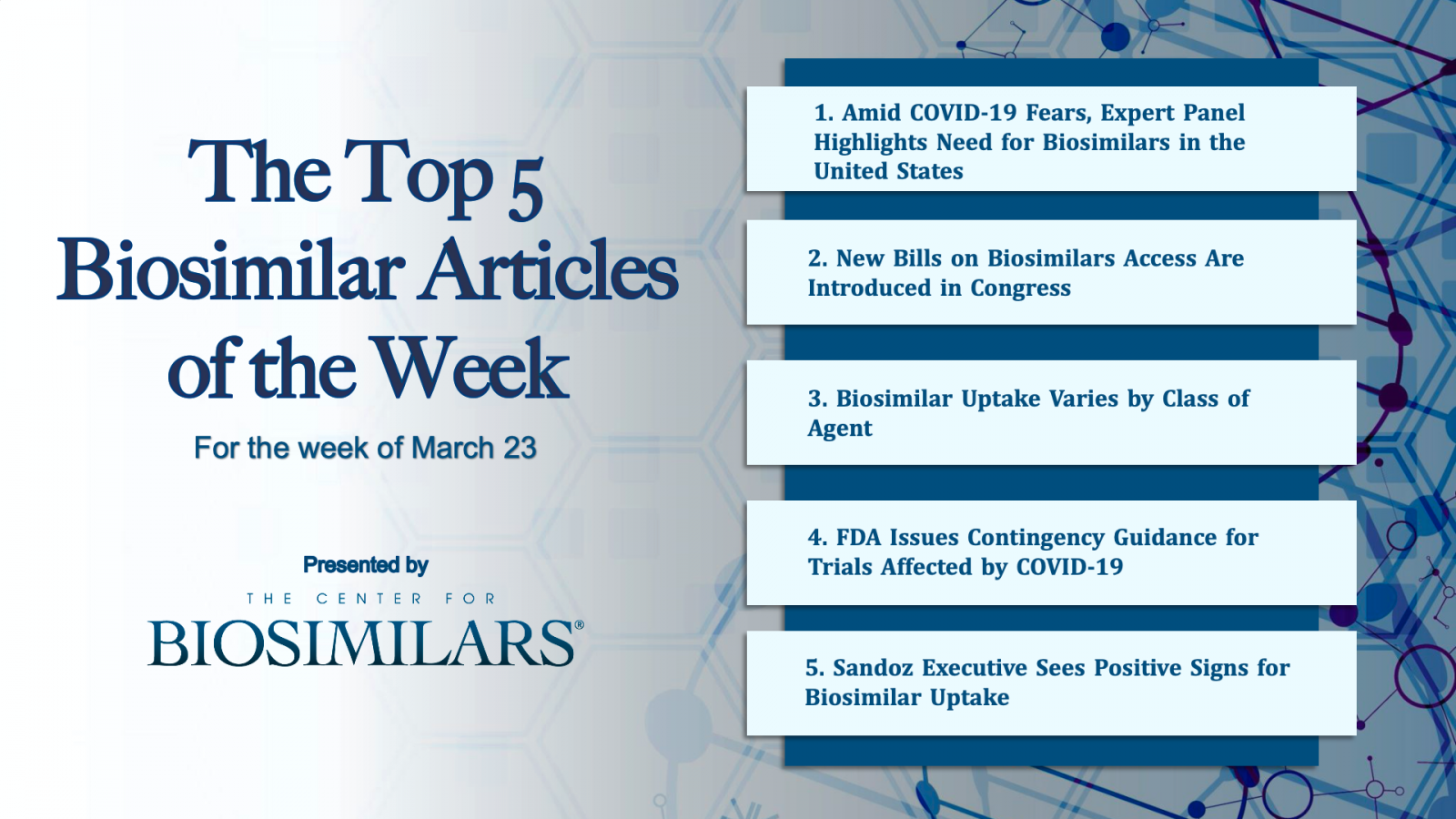The Top 5 Biosimilars Articles for the Week of March 23